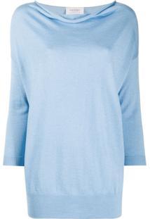 Snobby Sheep Blusa Decote Drapeado De Tricô - Azul
