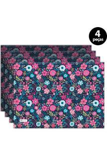 Jogo Americano Mdecore Floral 40X28 Cm Azul Marinho 4Pçs