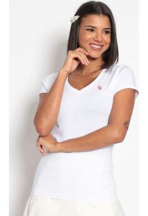 Camiseta Lisa Bordada - Brancaus Polo