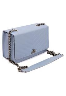 Bolsa Clutch Alça Transversal De Corrente Metalasse Livia Sabatini Azul Bebe
