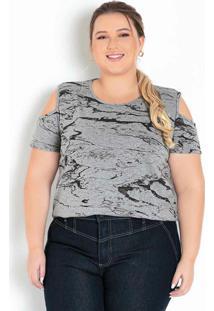Blusa Abstrato Com Ombros Vazados Plus Size