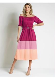 Vestido Tricolor Rosa Comfivela Moda Evangélica