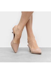 Scarpin Griffe Chanel Salto Fino Baixo - Feminino-Bege