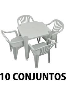 Conjunto Mesa E 4 Cadeiras Poltrona Plastico Branco 10 Conjuntos