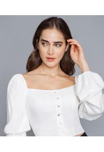 Blusa Cropped Manga Bufante Branco Off White - Lez A Lez