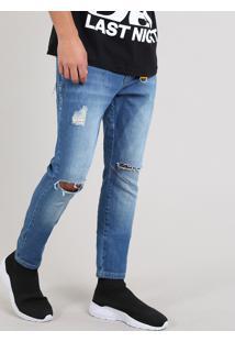 Calça Jeans Masculina Carrot Destroyed Com Chaveiro Azul Médio