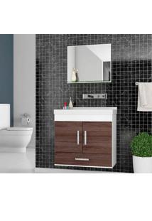 Gabinete Para Banheiro Betria 62,5X31X63Cm Com Lavatório E Espelheira Munique Cerocha