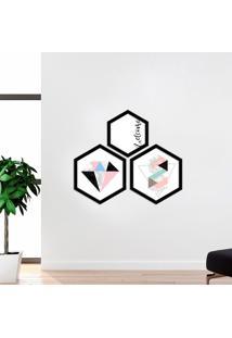 Kit 3 Quadros Com Moldura Hexagonal Welcome