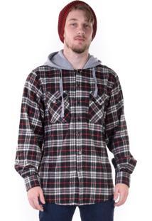 Camisa Gang Flanela Xadrez Com Capuz Preta E Vermelha