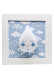 Quadro Decorativo Gota Com Carinha Quarto Bebê Infantil Potinho De Mel Azul