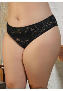 Calcinha Plus Size Marcyn Transparente Preta