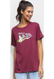 Camiseta New Era Flower Flag Feminina - Feminino-Vinho