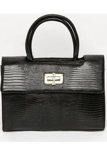 Bolsa Com Recorte Vazado & Tag- Preta & Dourada- 25Xsanta Lolla