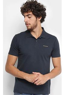 Camisa Polo Calvin Klein Piquet Básica Masculina - Masculino-Marinho