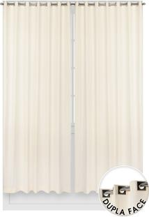 Cortina Santista Dupla Face Nova York Lisa 400X250 Marfim Off-White