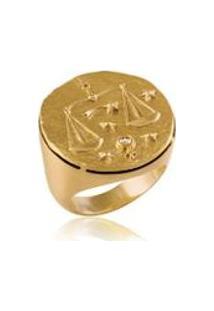 Anel Zodiaco Libra Amarelo C/ Diamante Chocolate - 17
