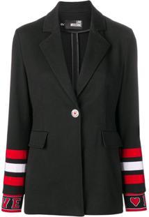 Love Moschino Striped Cuff Blazer - Preto
