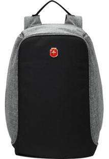 Mochila Anti Furto Para Notebook Swissland - Impermeável Usb Antifurto - Unissex-Cinza