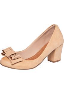Scarpin Dafiti Shoes Laço Salto Grosso Bege