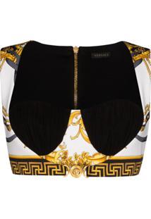 Versace Blusa Cropped Branca Com Estampa Barroca - Branco