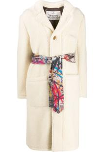 Vivienne Westwood Anglomania Single Breasted Shearling Coat - Branco