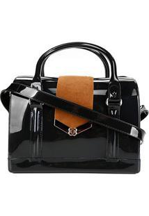 Bolsa Petite Jolie Bloom Bag Feminina - Feminino-Preto+Caramelo