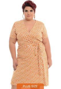 Vestido Transpassado Plus Size Bege