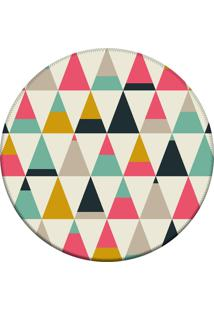 Tapete Love Decor Redondo Wevans Triangulos Multicoloridos 84Cm