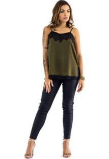 4c8d2a20d ... Blusa The Style Box De Alcinha Com Renda No Decote - Feminino-Verde