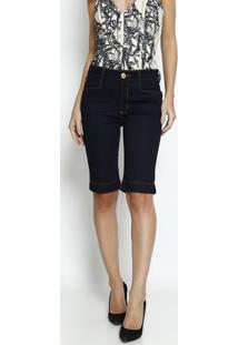 Bermuda Jeans Com Tag - Azul Escuro - Lança Perfumelança Perfume