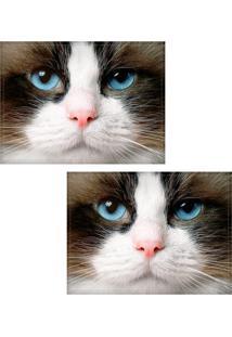 Jogo Americano Colours Creative Photo Decor - Gato De Olho Azul - 2 Peças