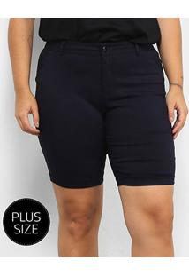 Bermuda City Lady Plus Size Feminina - Feminino-Azul