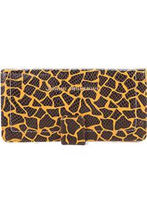 Carteira Couro Jorge Bischoff Girafa Feminina - Feminino-Amarelo+Preto