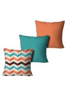 Kit 3 Capas Love Decor Para Almofadas Decorativas Geometrico Multicolorido Laranja