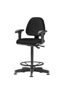 Cadeira Sky Com Bracos Curvados Assento Courino Base Caixa Fixa Metalica Preta - 54821 Preto