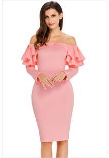 Vestido Elegante Babado Manga Longa - Rosa Claro M