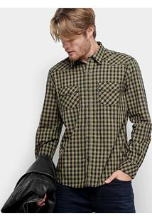 Camisa Xadrez Manga Longa Ellus Check 50 Western Pocket Masculina - Masculino-Mostarda