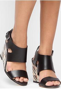 Sandália Anabela Couro Shoestock Fachete Color Feminina - Feminino-Preto