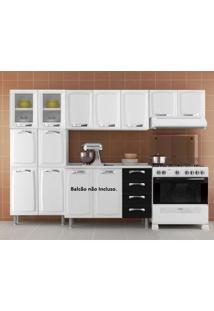 Cozinha Compacta 3 Peças 2 Portas Em Vidro Premium Itatiaia Branco