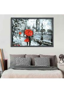 Quadro Love Decor Com Moldura London Red Grafitti Metalizado Médio