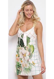 Vestido Curto Farm Flor Solar Amarração - Feminino-Off White