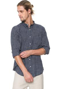 Camisa Osklen Reta Xadrez Azul-Marinho/Branca