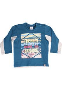 Camiseta Manga Longa Lápis De Cor Azul