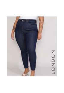 Calça Jeans Feminina Plus Size Mindset Skinny Modelo London Cintura Alta Azul Escuro