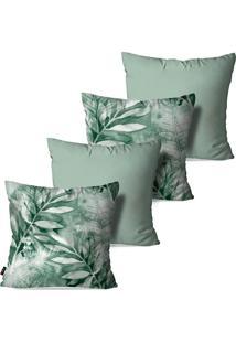 Kit Com 4 Capas Para Almofadas Pump Up Decorativas Folhas Verdes 45X45Cm