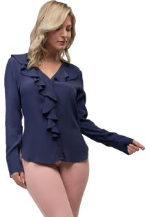 Camisa Mx Fashion Viscose Lenice Azul Marinho