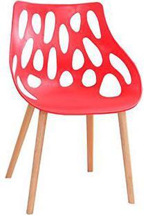 Cadeira Lina- Vermelha & Marrom Claro- 80X53X57,5Cm