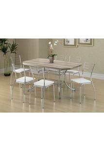Mesa 1507 Nogueira Cromada Com 6 Cadeiras 1700 Branca Carraro