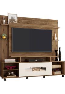Estante Home Theater Para Tv Até 60 Polegadas Sala De Estar Orion New Canela/Off White - Frade Movelaria