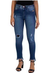 Calça Feminina Jeans Cigarrete Georgia Azul